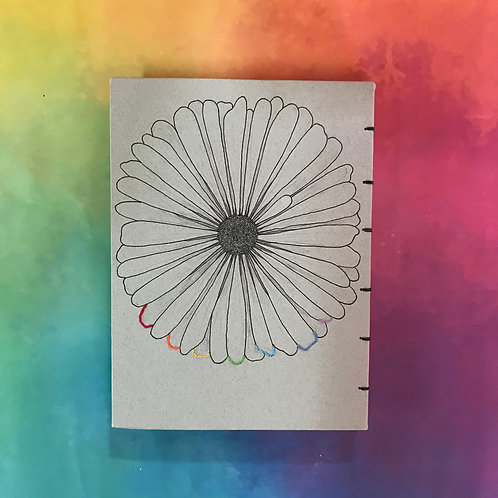 חרצית בצבעי הקשת- איור מקורי+רקמה