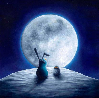 Moon Gazing Penguin!