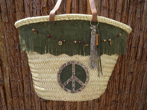 Boho bag peace groen
