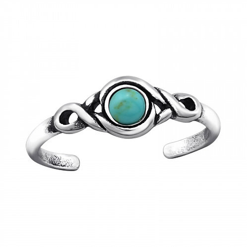 Teenring rond turquoise