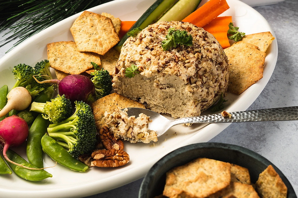 Keto friendly vegan cheese ball recipe for holiday entertaining christmas party
