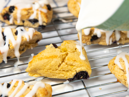 GLAZED LEMON BLUEBERRY KETO SCONES
