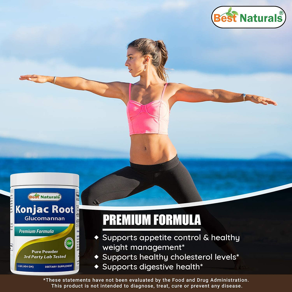 Glucomannan powder from Konjac root is for ketogenic diet cornstarch replacement for keto recipes