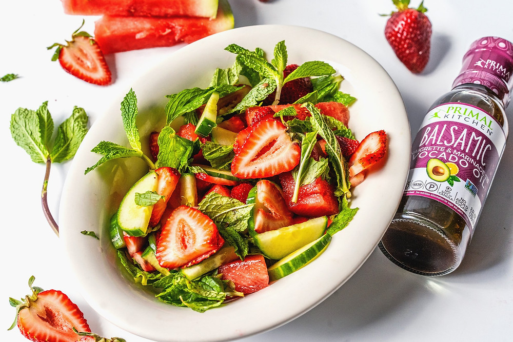 Watermelon Mint and Strawberry Vegan Salad Recipe By Primal Kitchen