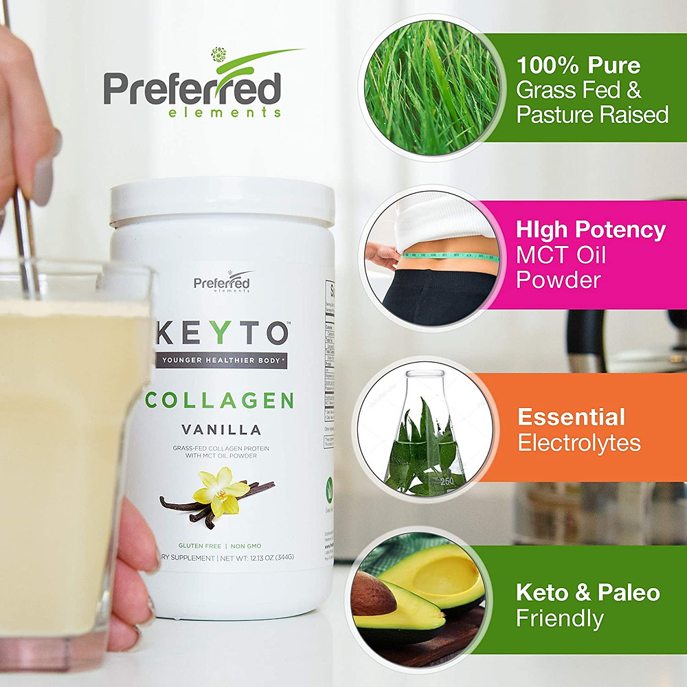 Keto Collagen Protein Powder with MCT Oil – Keto and Paleo Friendly Pure Grass Fed Pasture Raised Hydrolyzed Collagen Peptides – Fits Low Carb Diet and Keto Snacks – KEYTO Vanilla Flavor