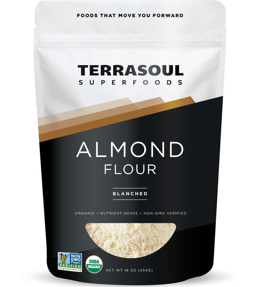 Terrasoul Superfoods Almond Flour for your ketogenic recipes and this keto crust for cheesecake recipe