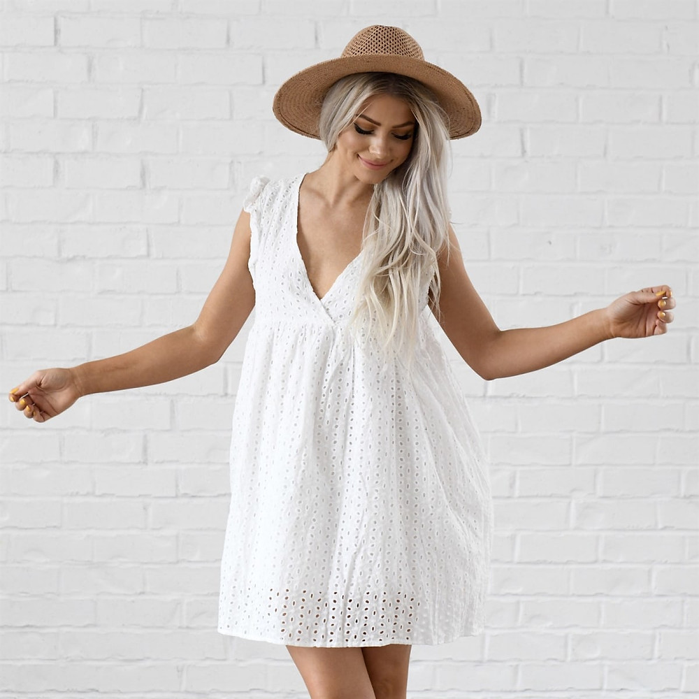 White Stylish Comfortable Baby Doll Dress