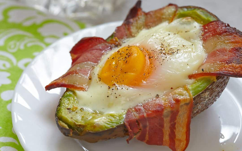 Keto Friendly Breakfast ideas ketogenic recipes avocado bacon egg boags