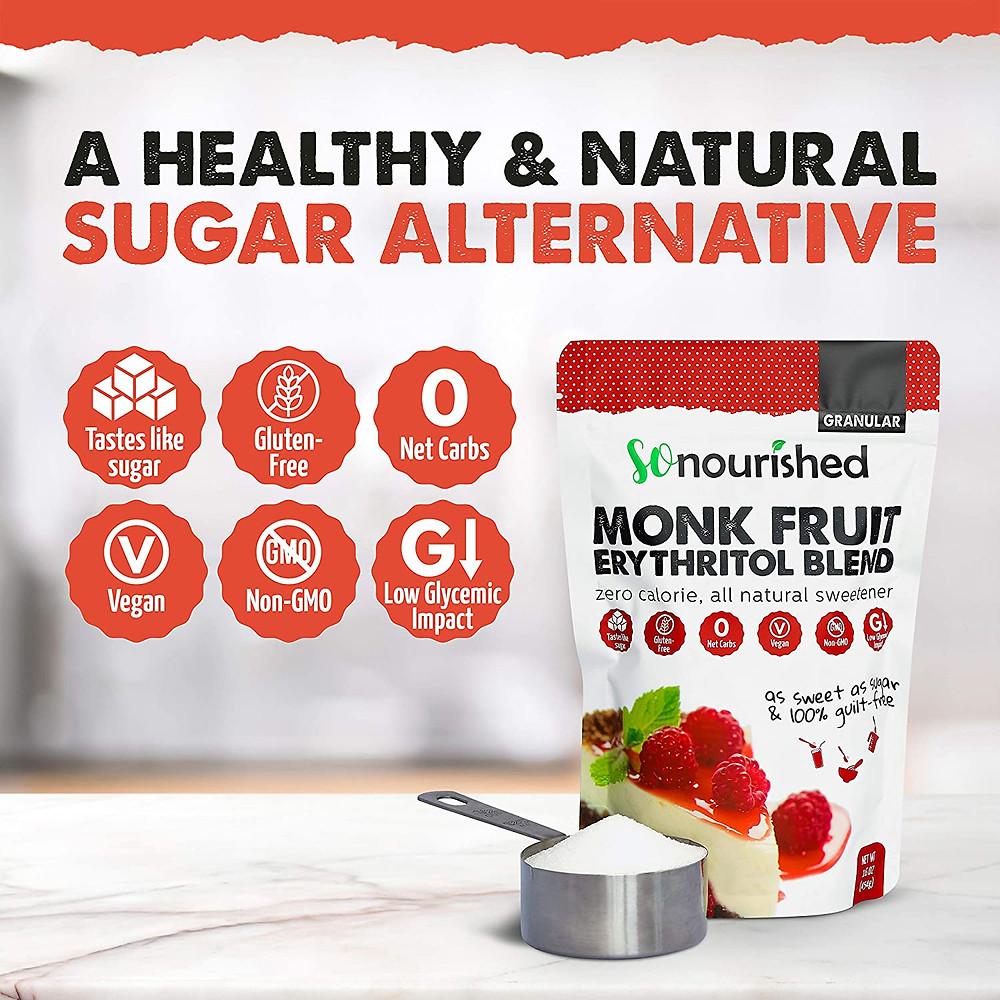 Healthy Sugar Alternative Monk Fruit Erythritol for ketogenic diet gluten free dieabetic friendly keto friendly desserts
