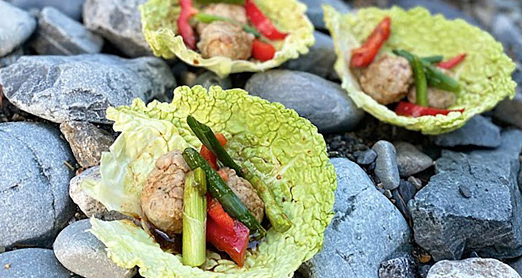 Camping Keto easy meals low carb cabbage wrap dumpling ketogenic recipe by Chef Corso of Montyboca