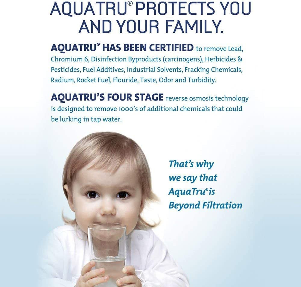 AquaTru countertop reverse osmosis water filtration system purifies removes lead carcinogens pesticides radium flouride