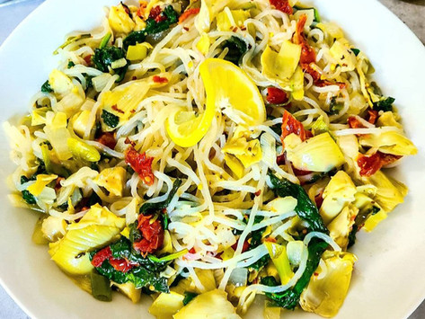 Creamy Lemon-Garlic Low-Carb Spaghetti