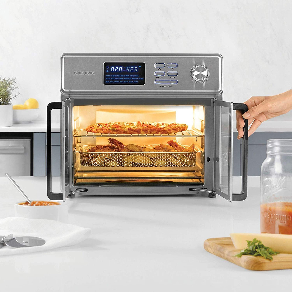 Air Fryer Toaster Oven stainless steel Digital Maxx Air Fryer Oven, Roaster, Broiler, Rotisserie, Dehydrator, Oven, Toaster, Pizza Oven and Slow Cooker