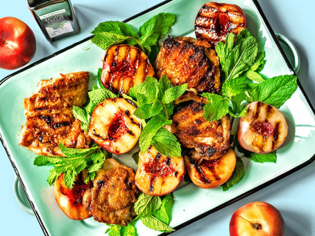 Grilled Chicken Thighs with Peaches and Balsamic Vinegar - Paleo Friendly