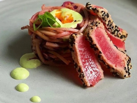 Sesame Crusted Ahi Tuna with Miracle Noodle Hearts of Palm