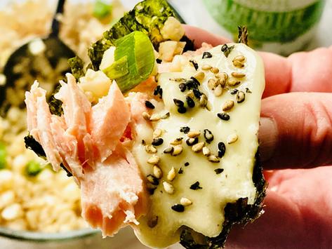 Spicy Salmon Hand Rolls With Cauliflower Rice - Keto Friendly!
