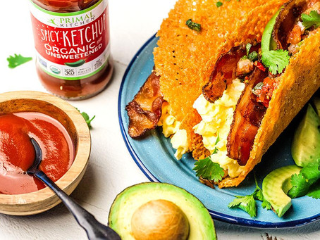 Keto Breakfast Tacos w/ Spicy Ketchup