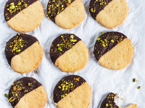 Keto Shortbread Cookies with Chocolate and Pistachios