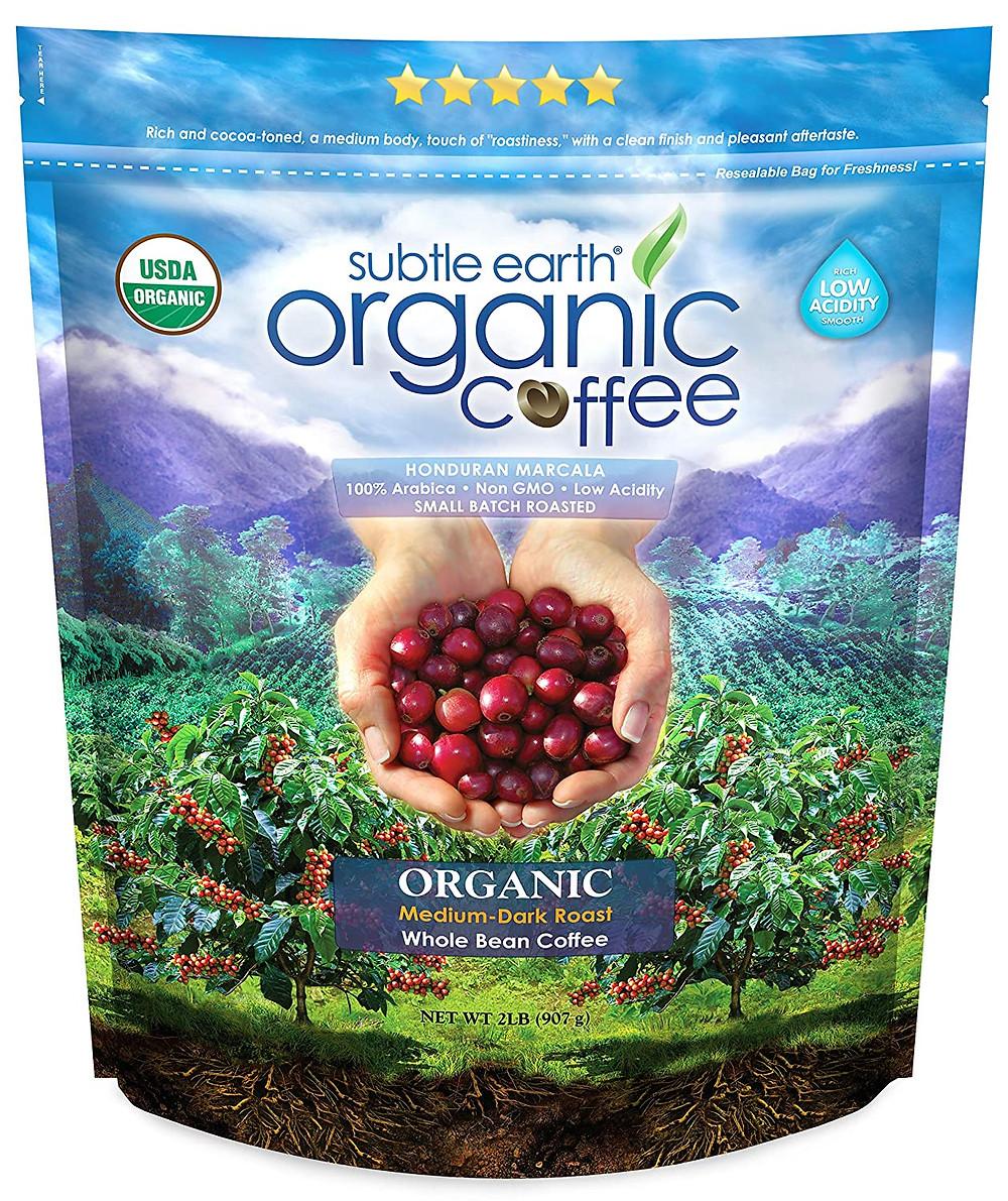 Subtle Earth Organic Coffee 100% arabica non GMO Marsha Merington of Healthy LIfe Selections  loves this delicious coffee