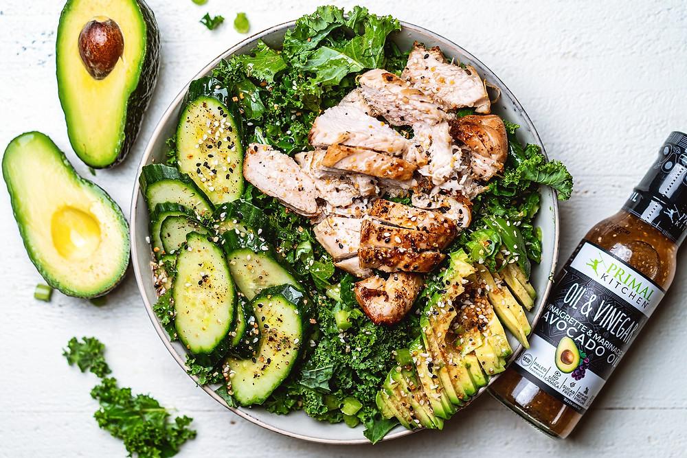 Keto Kale Salad With Avocado Oil & Vinegar Dressing