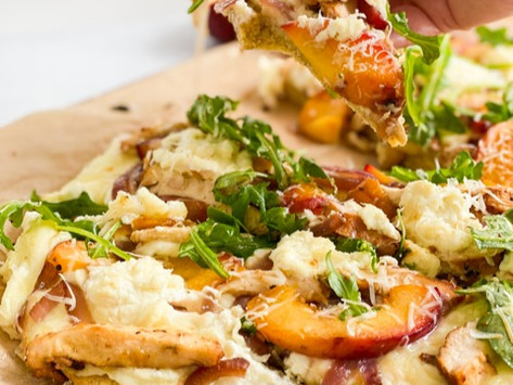 Low Carb Grilled Chicken & Peach Pizza
