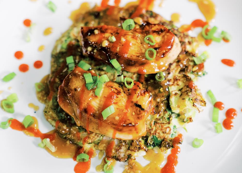 Keto Friendly entree by better body foods okonomiyaki pancakes with chicken ketogenic recipes at Healthy Life Selections by Better Body foods