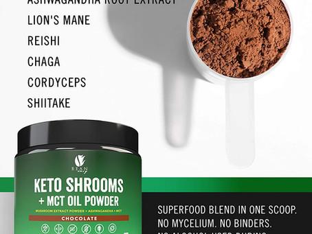 Keto Shrooms – Mushroom Extract Root Powder + MCT Oil Powder + Ashwagandha – Perfect for Keto
