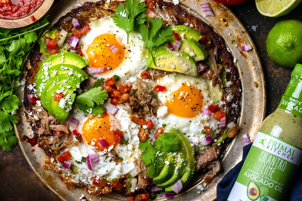 Healthy Life Selections shares Keto Cauliflower crust breakfast tosado with Cilantro Lime Dressing by Primal Kitchen