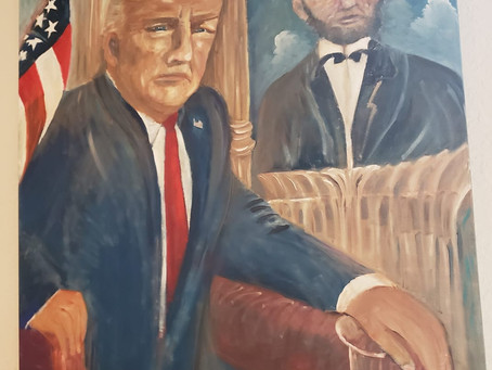 Trump Card Painting With Lincoln