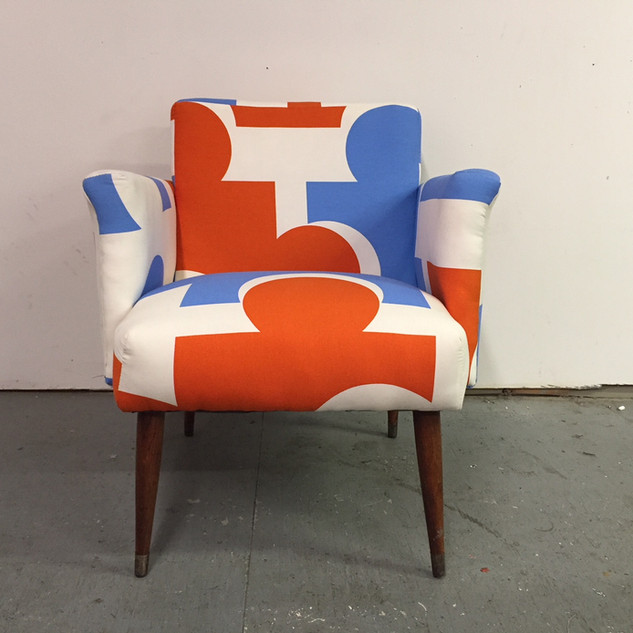 "Mid-century accent chair in Ikea ""puzzle"" print"