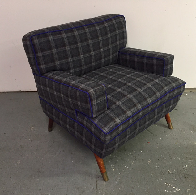 1958 arm chair in Pendleton wool