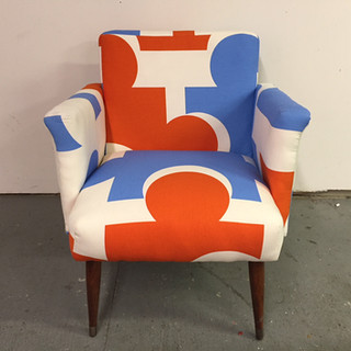 """Mid-century accent chair in Ikea """"puzzle"""" print"""