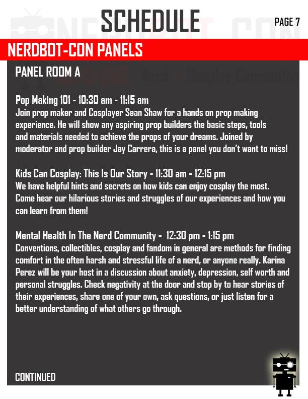 Event Schedule Nerdbot-Con 2017 - NERDBOT