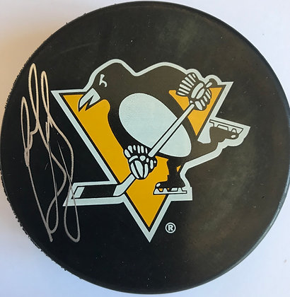 Ron Francis Autographed Pittsburgh Penguins Puck, Large Logo
