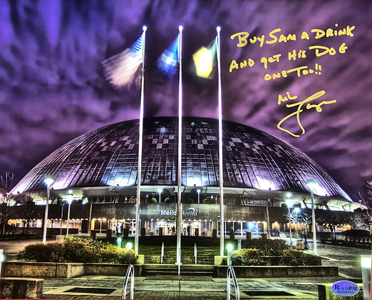 Mike Lange Autographed, Inscribed  8x10 Photo -Mellon Arena- Buy Sam A Drink...