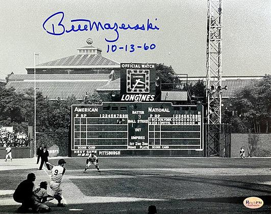 "Bill Mazeroski Signed 8x10 Photo - Home Run Shot - Inscribed ""10-13-60"""