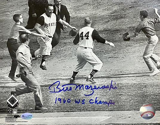 "Bill Mazeroski Signed 8x10 Photo - Rounding Third- Inscribed""1960 WS Champs"""""