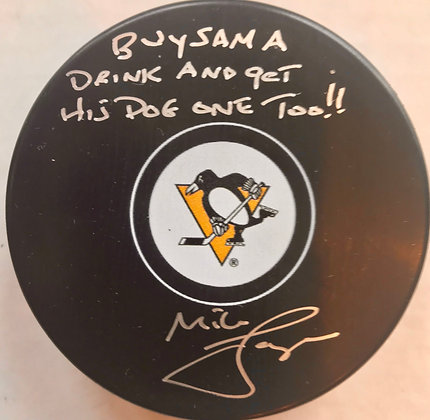 "Mike Lange ""Buy Sam A Drink And Get His Dog One Too!!"" Autographed Pittsburgh"