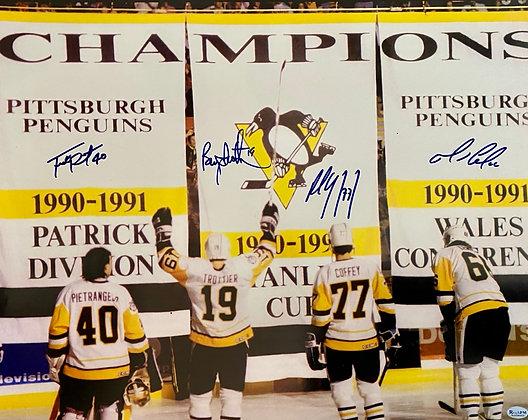 Penguin 16x20 autographed photo of Banner Raise