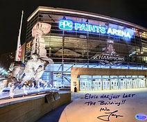 Mike Lange Autographed, Inscribed  8x10 Photo -PPG Arena- Elvis Has Just Left...