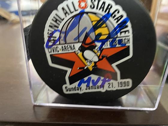 Mario Lemieux Auto All-Star Puck with MVP inscription