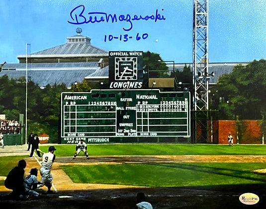 "Bill Mazeroski Signed 8x10 Photo Art - Home Run Shot - Inscribed ""10-13-60"""