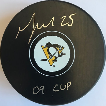 "Max Talbot Autographed Penguins Puck, Inscribed ""09 Cup"""