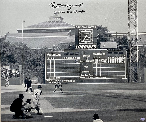 "Bill Mazeroski Signed 20x24 Canvas - Home Run Shot - Inscribed ""1960 WS Champs"""