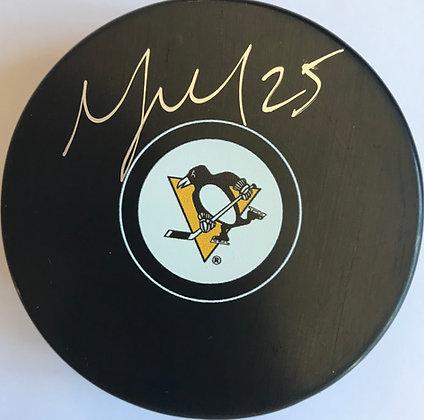 Talbot Autographed Penguins Puck