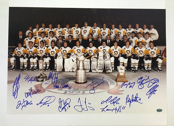 Pittsburgh Penguins 1991 Stanley Cup Champions 16x20 - 16 Signatures