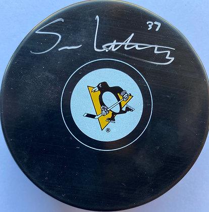 Sam Lafferty Autographed Pittsburgh Penguins Puck