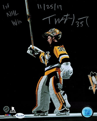 Tristan Jarry Autographed, Inscribed 8x10 Photo -#1 Star Salute - 1st NHL Win