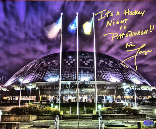 Mike Lange Autographed, Inscribed  8x10 Photo -Mellon Arena- Hockey Night...