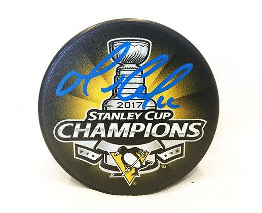 Mario Lemieux Autographed Pittsburgh Penguins Puck -2017 Stanley Cup Champions